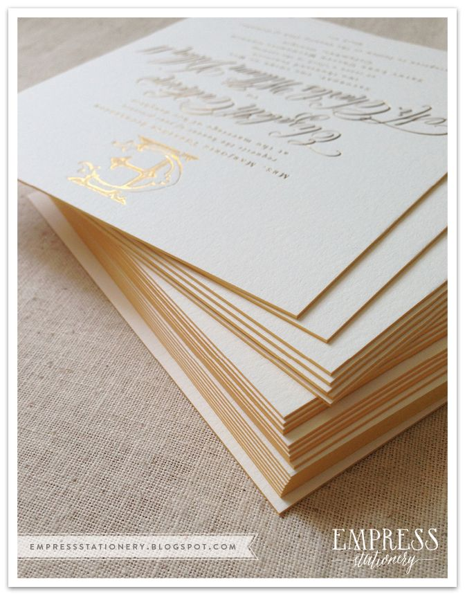 Gold foil and Letterpress Wedding Invitation with Custom Monogram and gold gilt edging