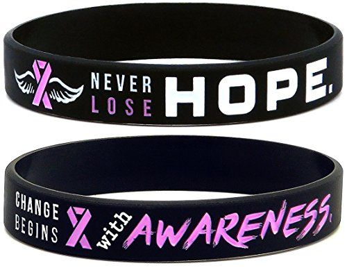 """(6-pack) #Breast #Cancer #Awareness #Pink #Ribbon #Bracelets - #Pack of #6 #Silicone #Wristbands #Pack of #6 #silicone #bracelets with #pink #awareness #ribbon color theme Standard adult unisex size of 8"""" around fits most men, women, and teen wrist sizes Contains 2 unique designs: """"Never Lose Hope,"""" and """"Change Begins with #Awareness."""" https://boutiquecloset.com/product/6-pack-breast-cancer-awareness-pink-ribbon-bracelets-pack-of-6-silicone-wristbands/"""