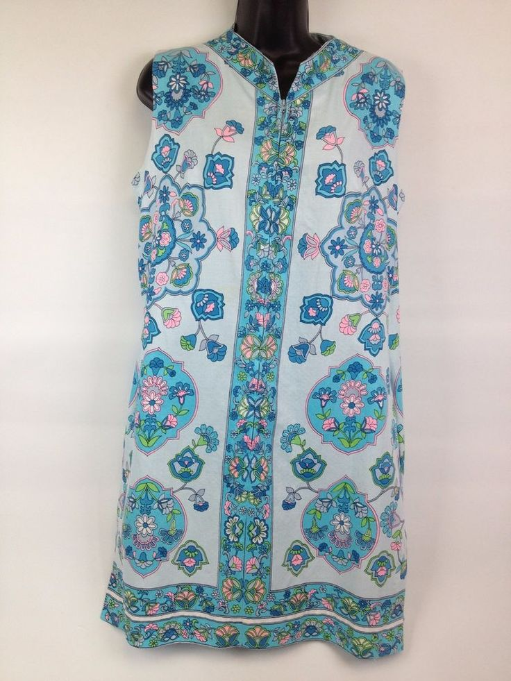 VTG 60s Mod Blue Floral Evelyn Pearson Lounge House Summer Beach Dress Pockets #EvelynPearsonLoungingApparel #Shift #Casual
