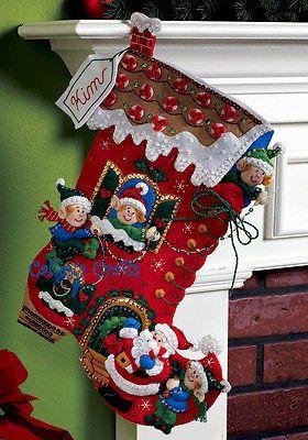"Bucilla Holiday Decorating ~ 18"" Felt Christmas Stocking Kit #86146 Santa, Elves"