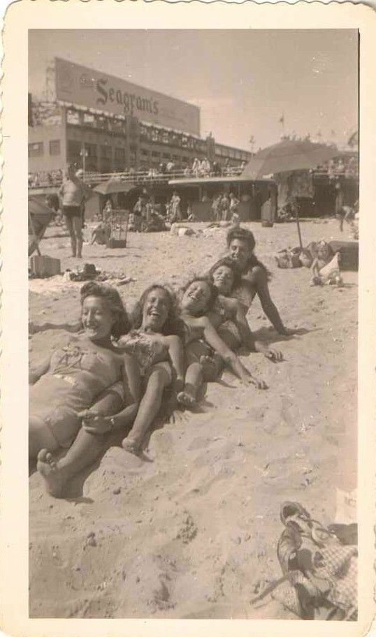 Vintage Photograph Five Young Girls in Bathing Suits All Lined Up in the Sand