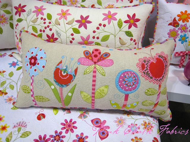 Quilt Market Spring 2012 by pink chalk studio. Rectangular cushion / pillow with appliqued flowers.