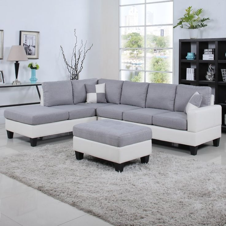 Luxury This beautiful traditional yet modern large two tone white and gray sectional sofa features white bonded Contemporary - Popular Coffee Table for Sectional sofa with Chaise HD