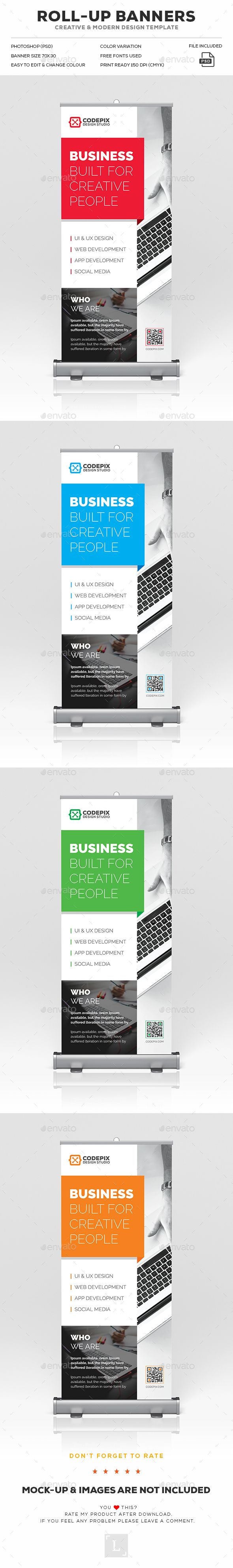 Roll-Up Banner Template PSD. Download here: https://graphicriver.net/item/rollup-banner/17552490?ref=ksioks