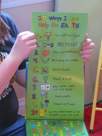 Earth Day Poster at end of The Earth Book could be used as model for your class to come up with their own ten ways to help the Earth.