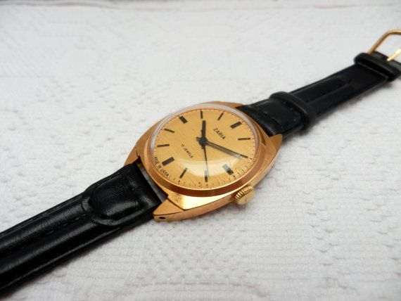 vintage gold plated Zaria mechanical ladies by Krisztiswatches, $42.99