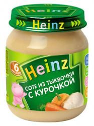 Хайнц пюре соте из тыквочки с курочкой с 6 мес 120г  — 57р. ---- Сочетание мяса совощами вдвое увеличивает усвояемость железа иорганических кислот израстительных продуктов.     Продукт дополнительно обогащен железом. Железо необходимо для синтеза гемоглобина– основного переносчика кислорода излегких ковсем тканям организма.     Мясные пюре Heinz содержат 100% натуральное мясо:    Без усилителей вкуса  Без ароматизаторов…