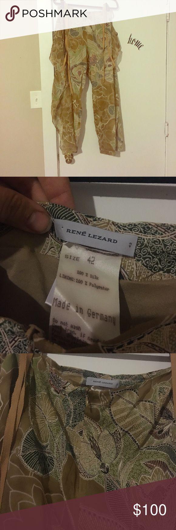 René Lenard floral pants Designer dress pants René Lezard Pants