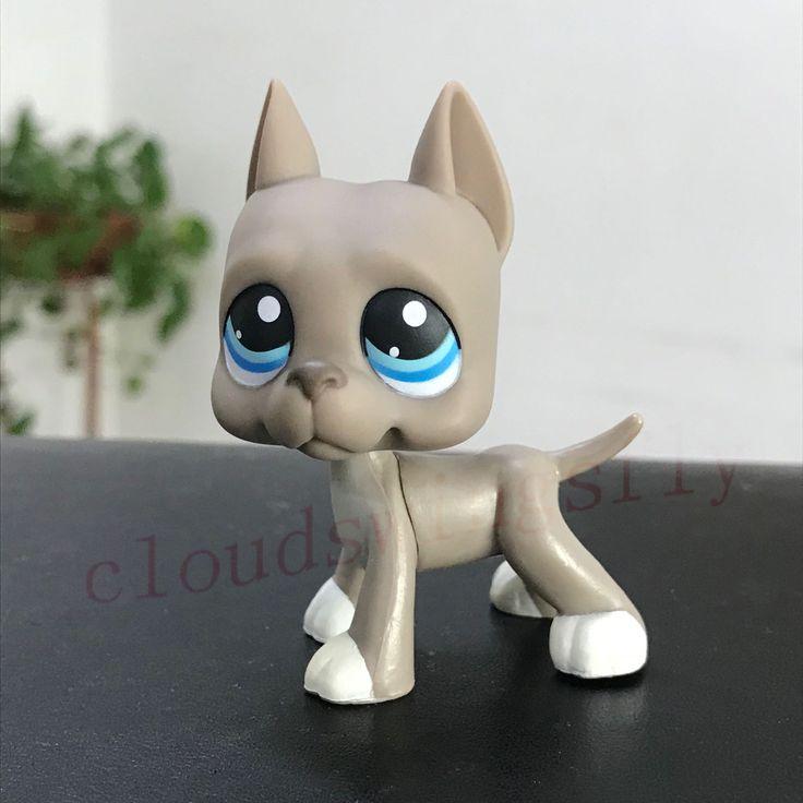 Littlest Pet Shop LPS Toys Grey Great Dane Dog Blue eyes #184 Rare Collection | eBay