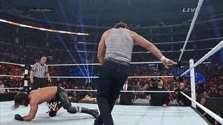 Dean Ambrose hit Seth Rollins with a massive clothesline