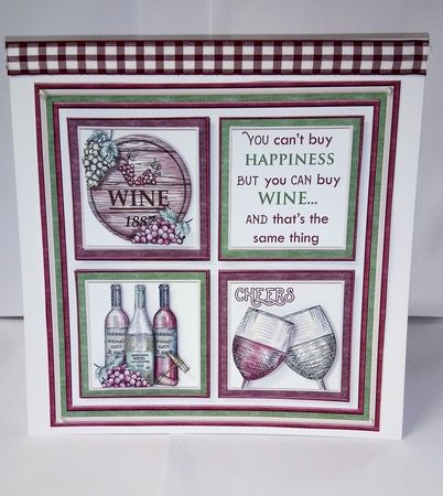 WINE HAPPINESS Humorous 7.5 Quick Card Decoupage & Insert Mini Kit - CUP871162_68 | Craftsuprint