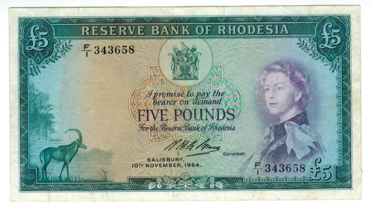 RHODESIAN 5 Pound note. 10 Nov, 1964, a year before the UDI. In those days a Rhodesian pound bought a Sterling pound. 40-odd years later the country's currency, the Zimbabwe dollar, needed TRILLIONS of dollars to buy a Sterling pound, then it collapsed completely. Today the country's currency is the US dollar!