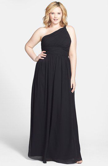 Donna Morgan Ruched One Shoulder Chiffon Gown (Plus Size) | Nordstrom