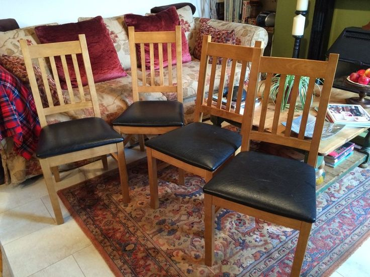 Set Of 4 Oak Dining Chairs Brown Leather Style Seats Vgc Homebase Cost 200