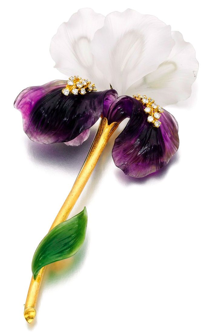 Carved rock crystal, amethyst, jade, and gold iris brooch set with diamonds, 1960s.
