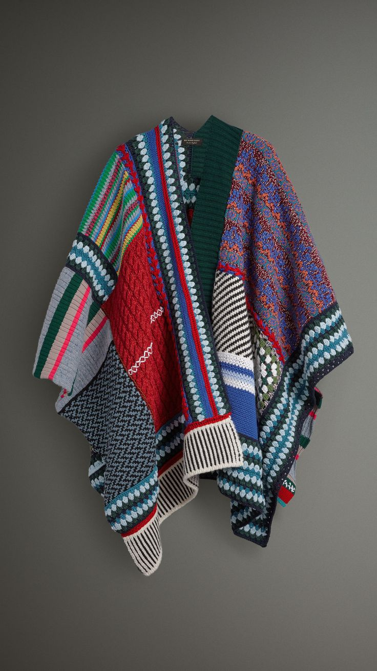 Cashmere Wool Blend Patchwork Poncho in Multicolour | Burberry