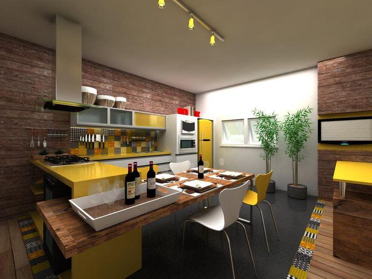 Sketch Móveis Planejados: Cozinha planejada com laca amarela e madeirado.