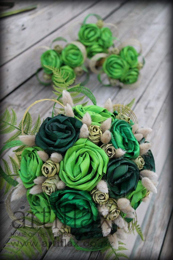 Gorgeous flax flower bouquet by Artiflax in shades of green and natural