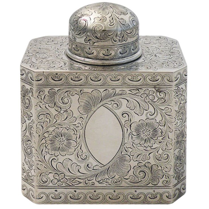 1stdibs.com | Theodore Starr Sterling Silver Engraved Tea Caddy 1890
