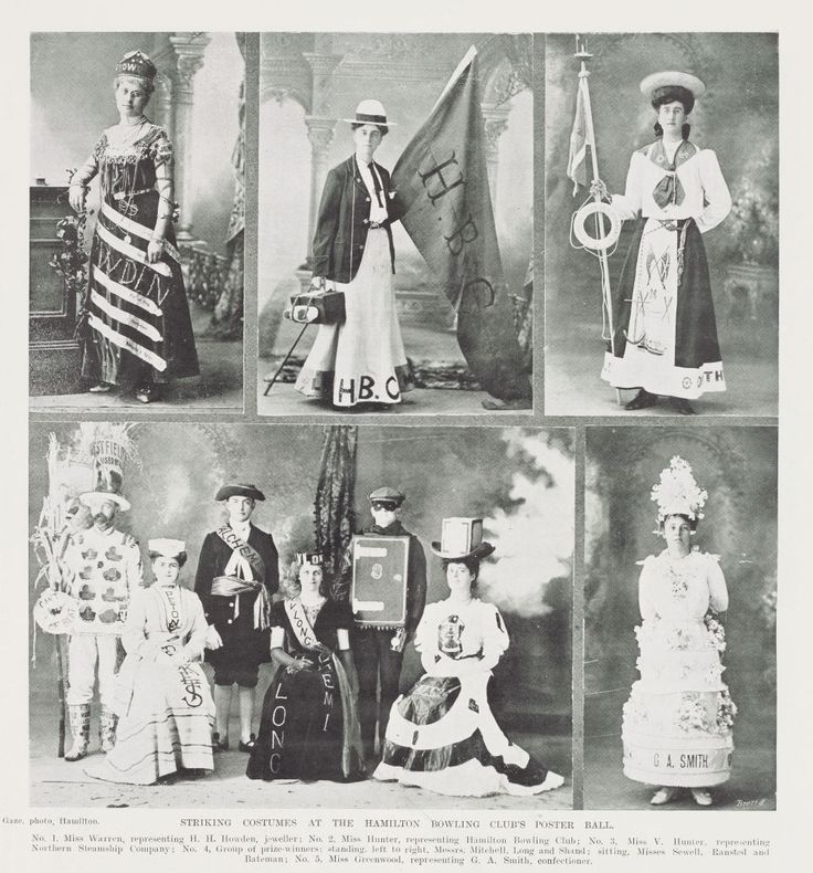 STRIKING COSTUMES AT THE HAMILTON BOWLING CLUB'S POSTER BALL, 14 September 1907