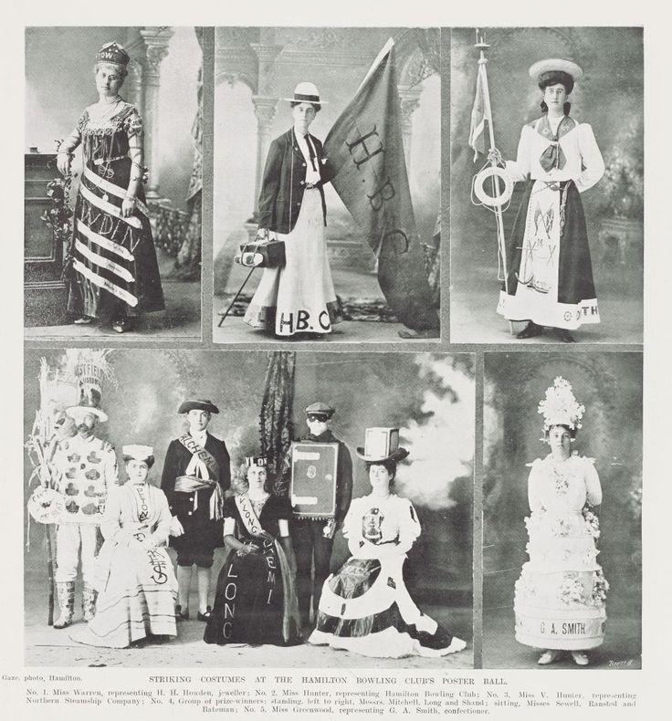 STRIKING COSTUMES AT THE HAMILTON BOWLING CLUB'S POSTER BALL, 14 September 1907