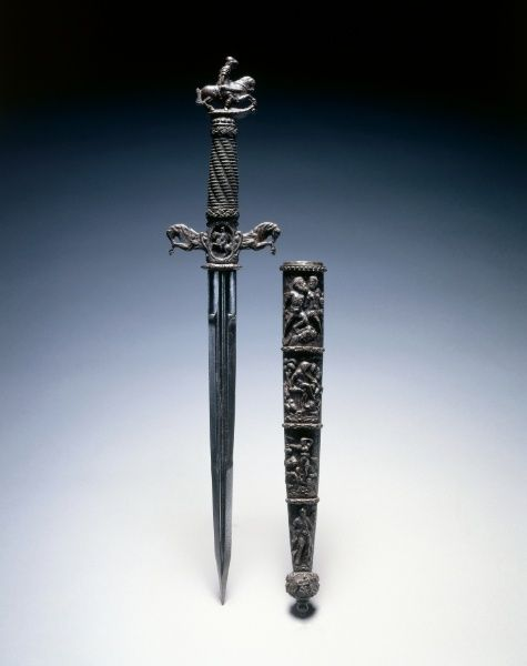 Dagger, 17th century (16th century blade)  Switzerland and/or France, 17th century (16th century blade)    steel and wire; chiseled quillions and pommel, Overall - l:44.30 cm (l:17 7/16 inches) Wt: .46 kg Quillions - w:9.20 cm (w:3 9/16 inches). Gift of Mr. and Mrs. John L. Severance 1916.1894.a