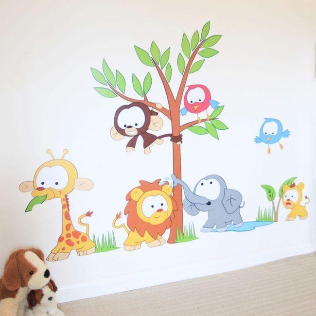 Good Wandtattoo im Kinderzimmer bunt Dschungel Tiere niedliche Motive
