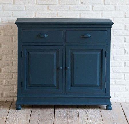Credenza 2 ante 2 cassetti in legno blu ottanio