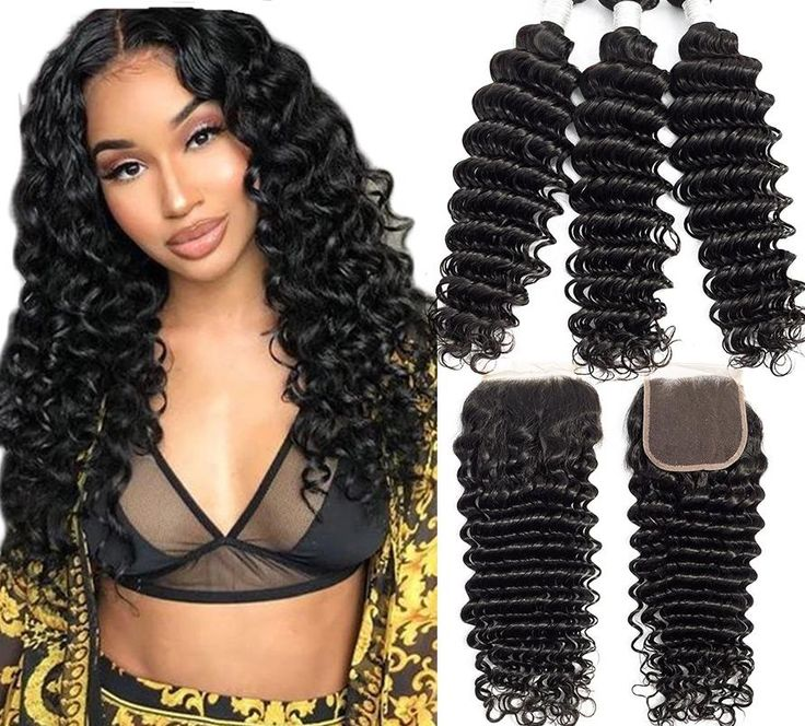 Natural Brazilian Deep Wave Bundles With Closure Double Weft – 14 16 16 & Closure12 / Natural Color / Free Part, China