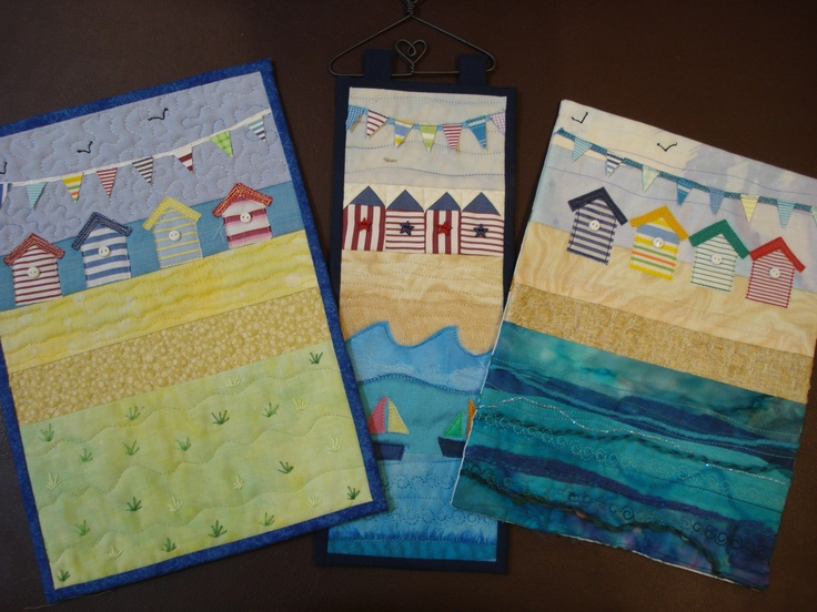 A collection of seaside mini quilts from Homegrown Textiles