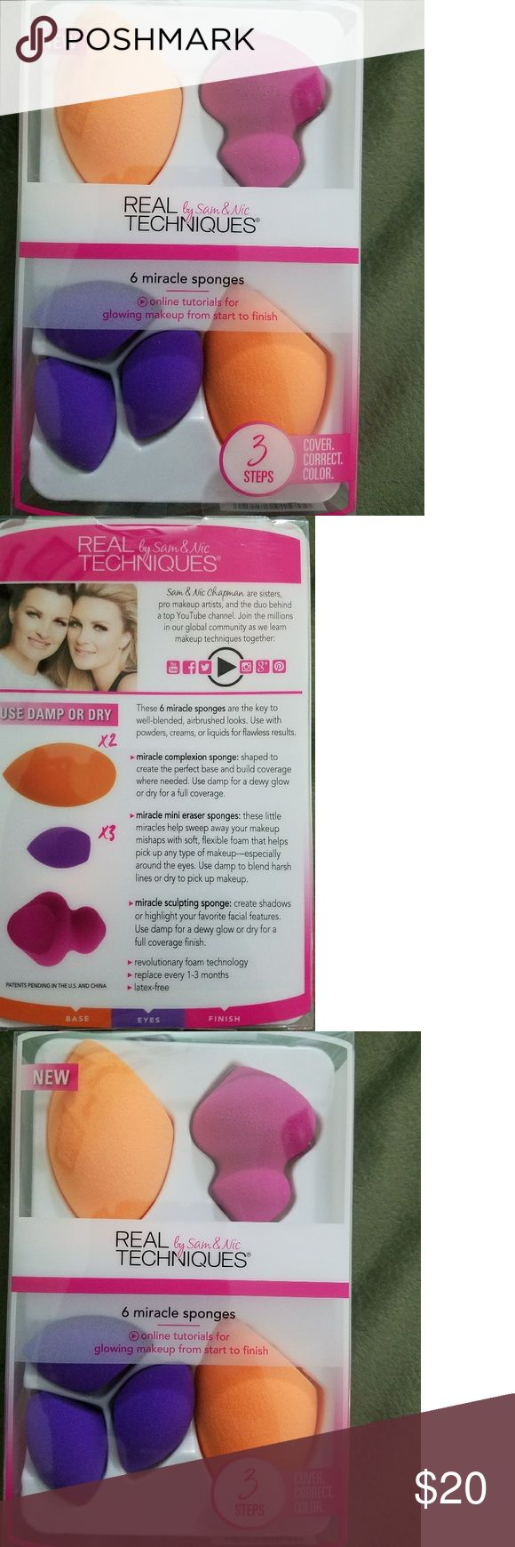 6 miracle makeup sponges Real techniques by Sam & Nic 6 miracle makeup sponges kit. Brand New never opened or used. Different colors and sizes for different makeup applications. Real Techniques Makeup Brushes & Tools