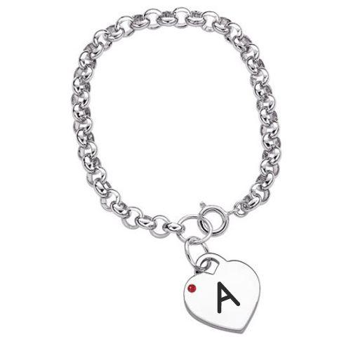 Write Name Alphabet on Birthstone Heart Charm Bracelet.Bracelet With Custom Alphabet.Create Jewelry Profile Pics With Name Initial.Beautiful Heart Bracelet With
