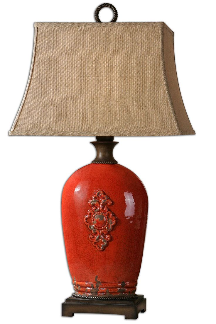 Ceramic table lamps red - Uttermost Mataline Crackled Red Lamp