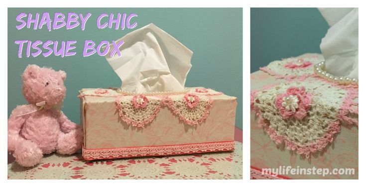 Pretty DIY Shabby Chic Tissue Box cover. Pink and white. Using Lace, ribbon and pearls