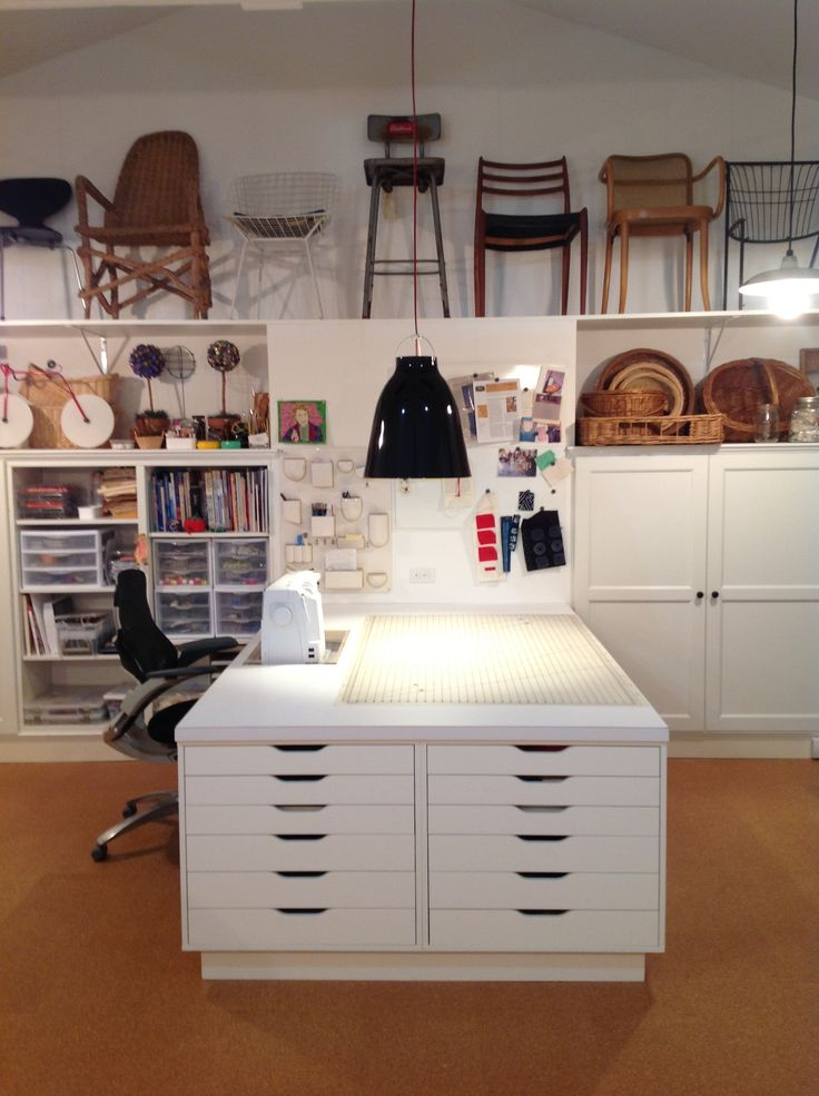 FiberArts studio using Ikea Besta cabinets using a 'built-in' application in background, and Ikea Alex cabinets supporting sewing table. Arvida Brustad pinterest. Please do not erase description. Thank you.