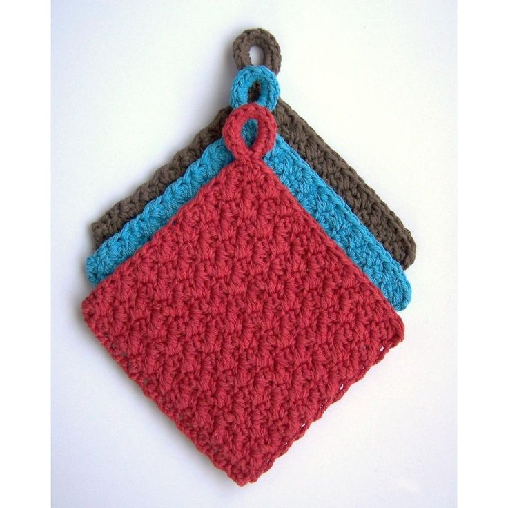 Say goodbye to those outdated quilted potholders and crochet these bold additions to modern decor!. These are nice and thick, and look fantastic in such great colors.They are quick to finish, using 2 strands of cotton held together. They're easy to adjust to make any size you want - the pattern provides the multiple needed to change the size!Pattern is written in American terminology.You are welcome to sell items made from this pattern, on a limited basis. Please credit me for the design…