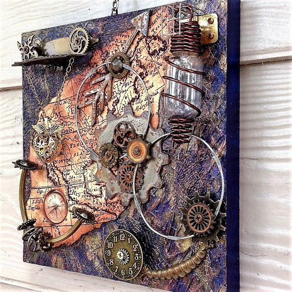 Steampunk Wall Art Steampunk Assemblage Altered Art Abstract