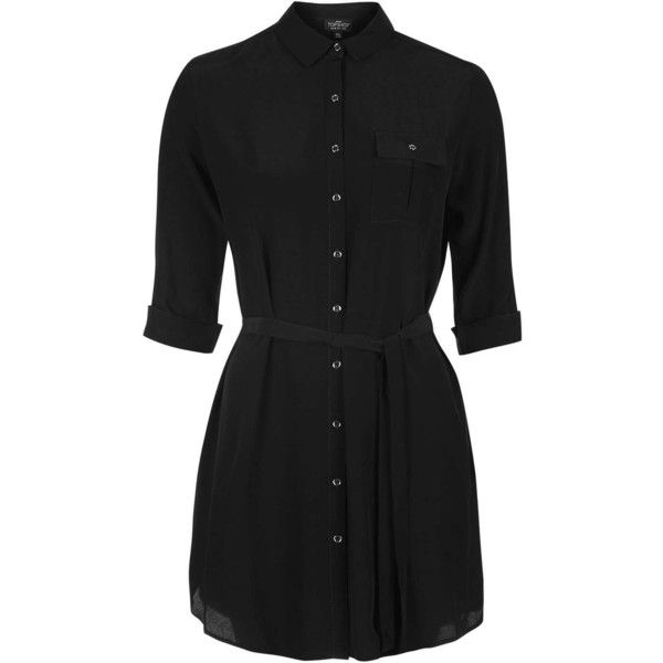 TopShop Petite Belted Shirtdress ($35) ❤ liked on Polyvore featuring dresses, shirt dress, long sleeve shirt dress, topshop, rayon shirt dress and button front dress