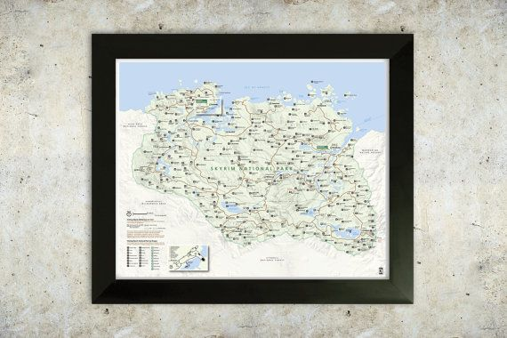 Skyrim Map National Park Style 16x20 Poster by KnerdKraft on Etsy, $30.00