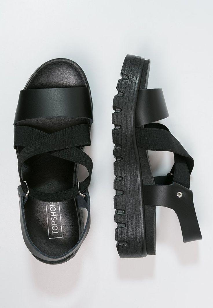 Topshop - FOLLY - Sandalen met plateauzool - black