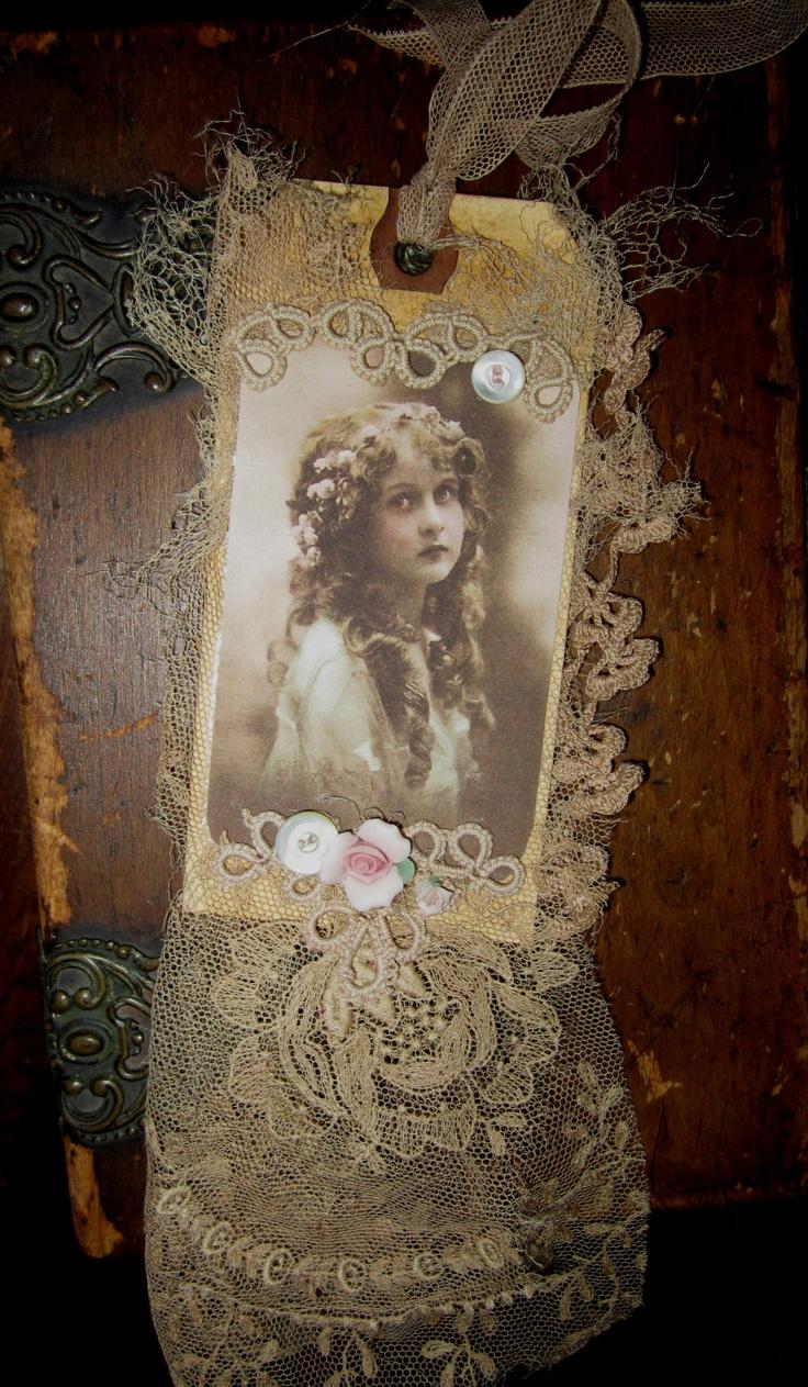Vintage Lace Collage Edwardian Girl Embellished Tag. $14.99, via Etsy.