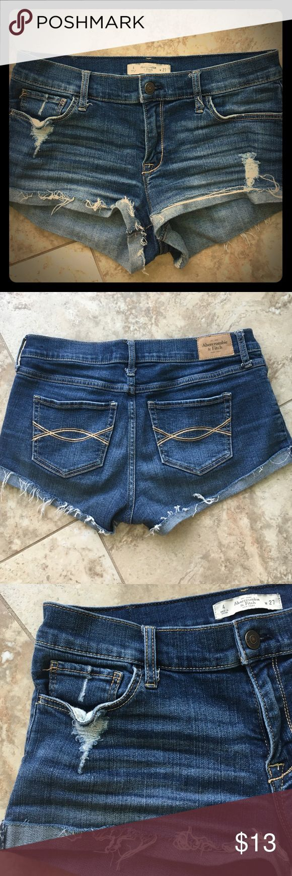Abercrombie & Fitch jean shorts Abercrombie & Fitch ripped jean shorts low rise Abercrombie & Fitch Shorts Jean Shorts