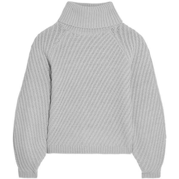 Iris and Ink Antonia ribbed merino wool turtleneck sweater (£105) ❤ liked on Polyvore featuring tops, sweaters, clothing - ls tops, jumpers, light gray, summer tops, chunky knit sweater, summer sweaters, polo neck sweater and ribbed turtleneck sweaters