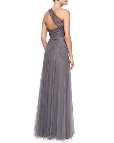 T8RNR Monique Lhuillier Bridesmaids One-Shoulder Draped Tulle Gown, Slate