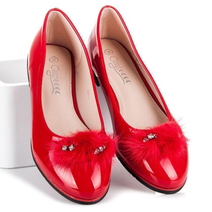 Červené balerínky GROTO 301-3R