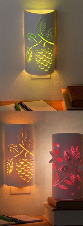 Transform a plain night light into an enchanting paper lantern. Download the flower or pine cone designs to make your own functional art that…