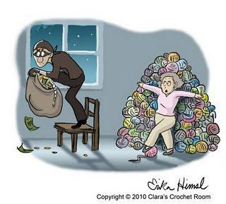 How far would you go to protect your yarn stash from a burglar? Share this funny knitting joke with all your fiber friends!