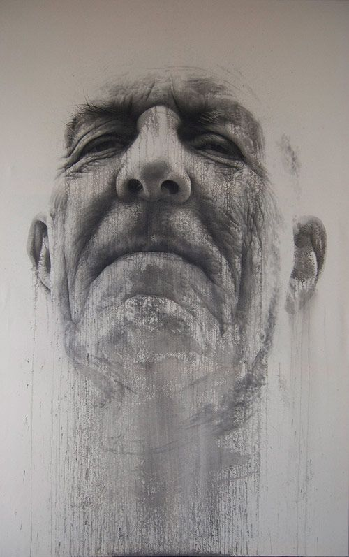 Artist: Annemarie Busschers, pencil and acrylic {mixed media male head man face portrait painting}