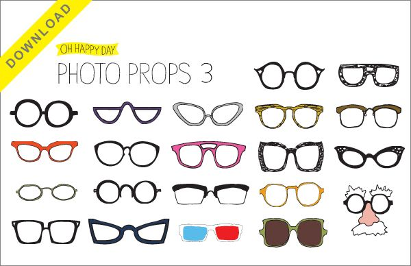 DIY photobooth prop glasses by Oh Happy Day http://www.ohhappyday.com