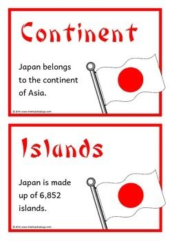 A set of 18 printable fact cards that give key, fun and interesting facts about Japan. Each fact card has a key word heading, this set an excellent topic-based word wall/ word bank as well! Visit our TpT store for more information and for other classroom display resources by clicking on the provided links.